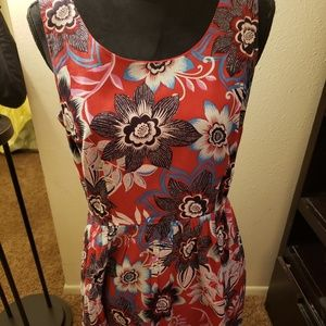 Talbots red flowered dress size 6
